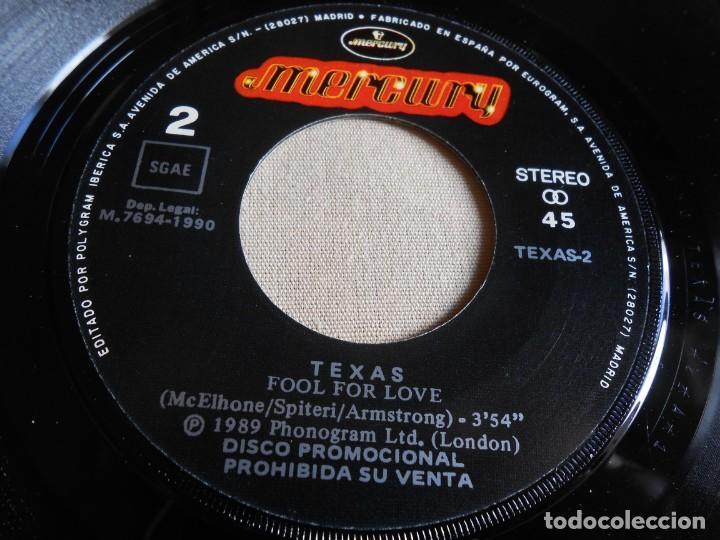 Discos de vinilo: TEXAS, SG, FOOL FOR LOVE + 1, AÑO 1990 PROMO - Foto 4 - 154381182
