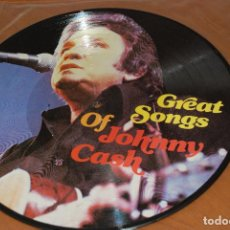 Discos de vinilo: JOHNNY CASH : GREAT SONGS OF JOHNNY CASH.1LP.PICTURE DISC.RARE . MADE IN DENMARK .MINT - NUEVO.. Lote 154506778