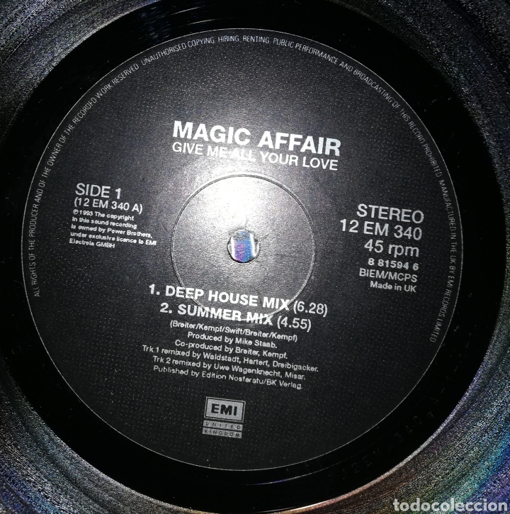 Discos de vinilo: Magic Affair - Give me all your love - Foto 3 - 154558562