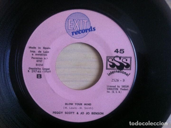 Discos de vinilo: Peggy Scott & Jo Jo Benson - I Want To Love Your Baby / Blow Your Mind - SINGLE 1969 - EXIT - Foto 2 - 154669154