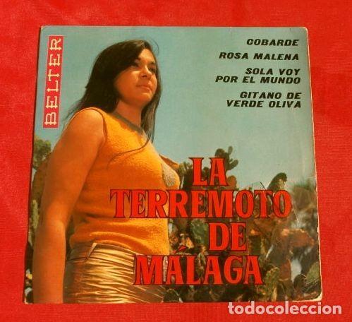 LA TERREMOTO DE MALAGA (1969) COBARDE, ROSA MALENA, GITANO DE VERDE OLIVA ... (Música - Discos de Vinilo - EPs - Flamenco, Canción española y Cuplé)