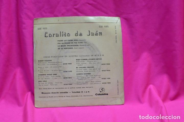 Discos de vinilo: coralito de jaen - padre ay padre mio / fue la noche de tus ojos / + 2, columbia, 1959. - Foto 2 - 154741482