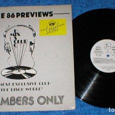 Discos de vinilo: DJ MEMBERS ONLY LP JUNE 86 PREVIEWS CROWN HEIGHTS AFFAIR SWING OUT SISTER JANICE JERMAINE JACKSON. Lote 154758510
