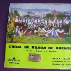 Discos de vinilo: CORAL DE RUADA DE ORENSE EP ALHAMBRA 1962 - ISOLINO CANAL - PANDEIRADA - FOLIADA - FOLK GALICIA . Lote 154787890