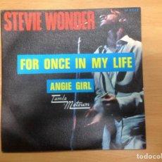 Discos de vinilo: SINGLE STEVE WONDER FOR ONCE IN MY LIFE EDITADO EN ESPAÑA MOTOWN 1968. Lote 154823626