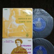 Discos de vinilo: DOS SINGLES- ORQUESTA MAGNIFICOS Y MARBEL SIEMPRE SWING / OLVIDANDO/NATAN/CUARTETO DE ASES. Lote 154928766
