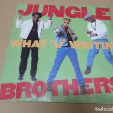 Discos de vinilo: JUNGLE BROTHERS (MX) WHAT U WAITIN +5 TRACKS AÑO 1990 – EDICION ALEMANIA. Lote 155005242