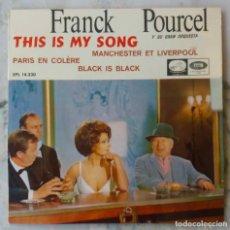 Discos de vinilo: FRANCK POURCEL. THIS IS MY SONG + 3 CANCIONES. EN PORTADA SOPHIA LOREN Y CHARLES CHAPLIN. EP ESPAÑA. Lote 155128886