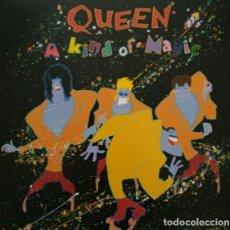 Discos de vinilo: QUEEN LP A KIND OF MAGIC 1985 PORTADA DOBLE CON ENCARTE LETRAS DE CANCIONES. Lote 10009138