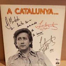 Discos de vinilo: FIRMADO !! LUIS AGUILÉ A CATALUNYA / LP GATEFOLD - ARIOLA-1975 / DEDICADO Y FIRMADO / MBC. ***/***. Lote 155204198