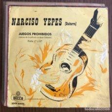 Discos de vinilo: NARCISO YEPES - JUEGOS PROHIBIDOS - SINGLE DECCA 1963 . Lote 155210018