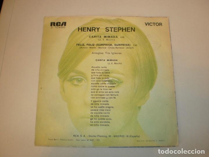 Discos de vinilo: single henry stephen. carita mimada. feliz, feliz. rca 1970 spain (probado y bien, seminuevo) - Foto 2 - 155253522