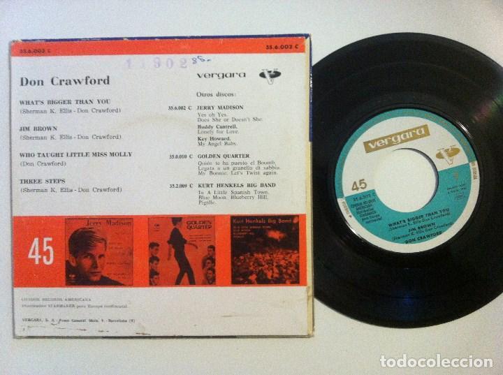 Discos de vinilo: DON CRAWFORD - what´s bigger than you - EP 1962 - VERGARA - Foto 3 - 155298574