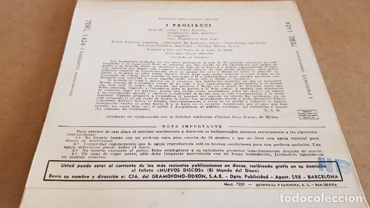 Discos de vinilo: I PAGLIACCI / VARIOS ARTISTAS / SCALA DE MILAN / EP-VOZ DE SU AMO-1961 / MBC. ***/*** - Foto 2 - 155365030