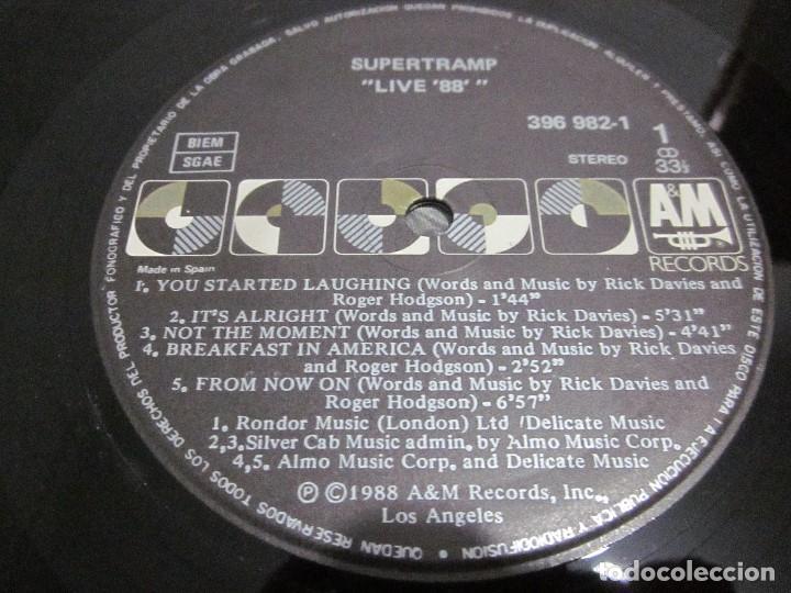 Discos de vinilo: SUPERTRAMP - LIVE 88 - LP - EDICION ESPAÑOLA DEL AÑO 1988 - VER FOTOS. - Foto 4 - 155366822
