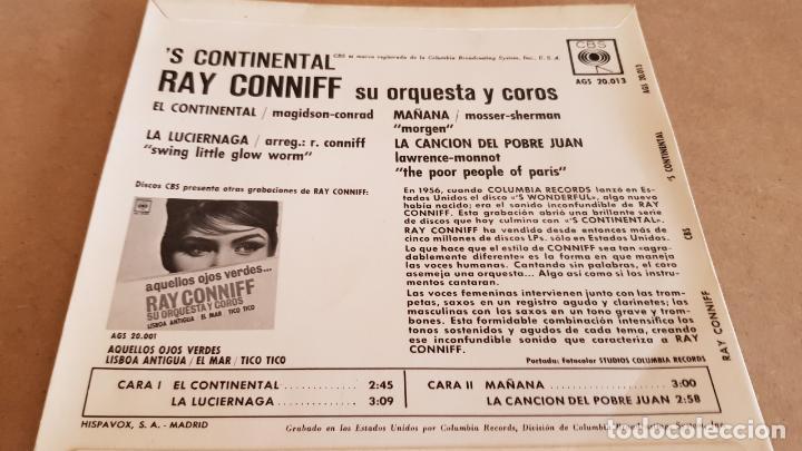 Discos de vinilo: RAY CONNIFF / EL CONTINENTAL / EP - CBS - 1962 / MBC. ***/*** - Foto 2 - 155381146