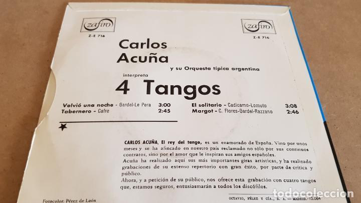 Discos de vinilo: CARLOS ACUÑA / TANGOS / EP - ZAFIRO-1966 / CALIDAD LUJO. ****/**** - Foto 2 - 155389194