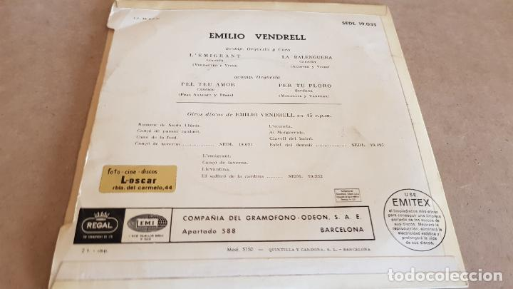 Discos de vinilo: EMILIO VENDRELL / LEMIGRANT / EP - REGAL - AÑOS 50 / MBC. ***/*** - Foto 2 - 155399506