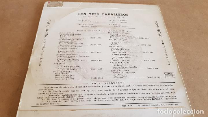 Discos de vinilo: LOS TRES CABALLEROS / EL RELOJ / EP - ODEON - 1959 / MBC. ***/*** - Foto 2 - 155399846