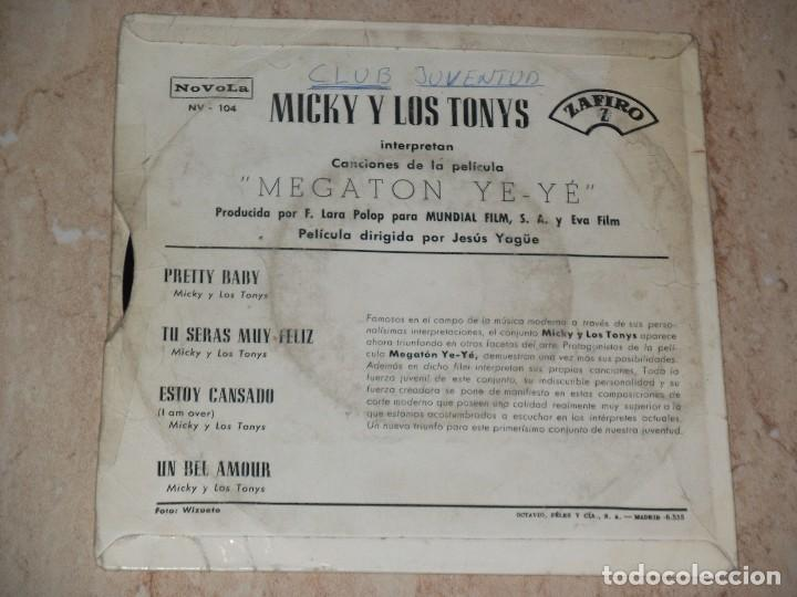 Discos de vinilo: MICKY Y LOS TONYS PRETTY+3 BABY B.S.O. MEGATON YE YE EP - Foto 2 - 155407302