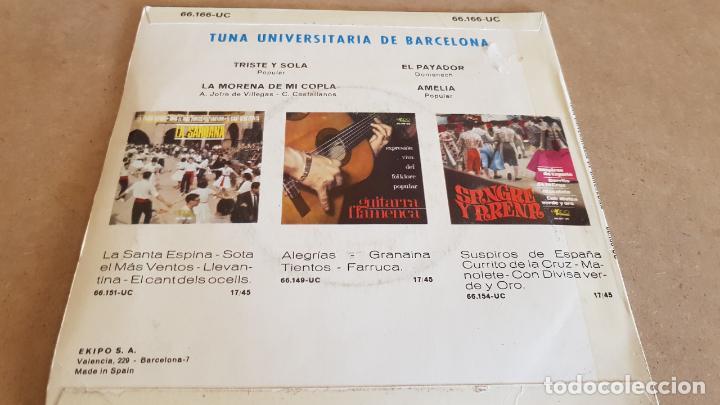 Discos de vinilo: TUNA UNIVERSITARIA DE BARCELONA / TRISTE Y SOLA / EP - EKIPO-1967 / MBC. ***/*** - Foto 2 - 155451386