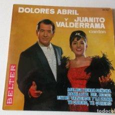 Discos de vinilo: DOLORES ABRIL Y JUANITO VALDERRAMA, MALAGA TIERRA SEÑORA EP 4 TEMAS 1963 BELTER. Lote 155612362