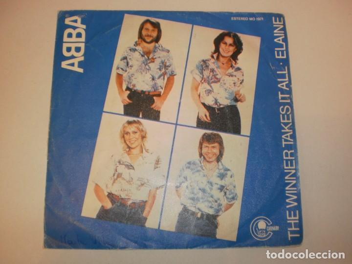 SINGLE ABBA. THE WINNER TAKES IT ALL. ELAINE. CARNABY 1971 SPAIN (PROBADO Y BIEN) (Música - Discos - Singles Vinilo - Pop - Rock - Extranjero de los 70)
