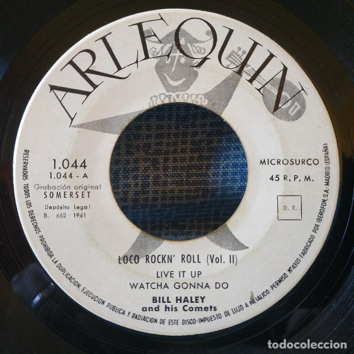 Discos de vinilo: Bill Haley & His Comets - Live it up / Rock the joint + 2 - Muy raro EP Spain Arlequin 1044 año 1961 - Foto 3 - 155738286