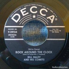 Discos de vinilo: BILL HALEY & HIS COMETS - ROCK AROUND THE CLOCK / THIRTEEN WOMEN - SINGLE USA SELLO DECCA 9-29124 EX. Lote 155743586