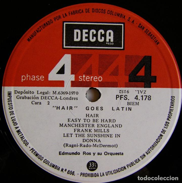 Discos de vinilo: Edmundo Ros Y Su Orquesta – Hair Goes Latin, Decca – PFS 4178, Decca – PFS. 4.178 - Foto 6 - 155818918