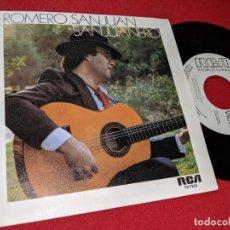 Discos de vinilo: ROMERO SANJUAN SAN JUANERO/MUJER 7'' SINGLE 1985 RCA PROMO. Lote 155859378