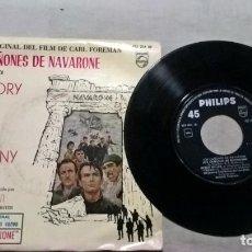 Discos de vinilo: MUSICA SINGLE: LOS CAÑONES DE NAVARONE / GREGORY PECK - DAVID NIVEN - ANTHONY QUINN (ABLN). Lote 155931746