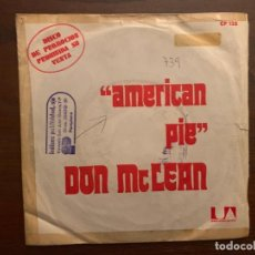 Discos de vinilo: DON MCLEAN – AMERICAN PIE SELLO: UNITED ARTISTS RECORDS – CP 128, HISPAVOX – CP 128 FORMATO: 7. Lote 156006974