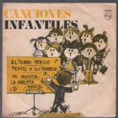 Discos de vinilo: CANCIONES INFANTILES - EL BURRO PERICO +3 - EP PHILIPS 1969 RF-3752. Lote 156035662