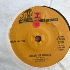 Discos de vinilo: RALPH MCTELL - STREETS OF LONDON / SUMMER LIGHTNING - SINGLE REPRISE UK 1974 . Lote 156057774