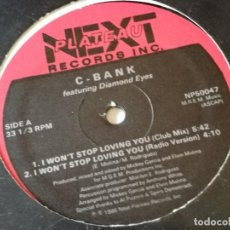 Discos de vinilo: C-BANK FEATURING DIAMOND EYES - I WON'T STOP LOVING YOU - 1986. Lote 156193314