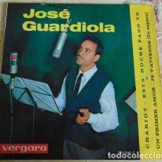 Disques de vinyle: JOSÉ GUARDIOLA – CHARIOT / UN PRIMER AMOR / ESTA NOCHE PAGO YO / JE T'ATTENDS EP. Lote 156205242