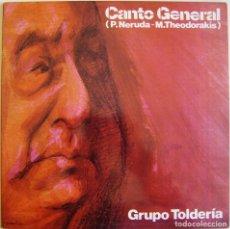 Discos de vinilo: P. NERUDA - M. THEODORAKIS, GRUPO TOLDERÍA – CANTO GENERAL, MOVIEPLAY – 17.1242/3. Lote 156226030