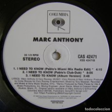 Discos de vinilo: MARC ANTHONY ‎– I NEED TO KNOW, COLUMBIA ‎– CAS 42471. Lote 156235542