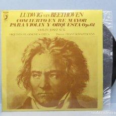 Discos de vinilo: LP. BEETHOVEN. CONCIERTO PARA VIOLIN Y ORQUESTA OP. 61. JOSEF SUK. FILARM. CHECA. Lote 156454506