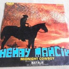 Discos de vinilo: HENRY MANCINI, SG, MIDNIGHT COWBOY + 1, AÑO 1970. Lote 156469502