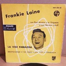 Discos de vinilo: FRANKIE LAINE CON PAUL WESTON / RESPÓNDEME / EP - PHILIPS-1958 / MBC. ***/***. Lote 156475686