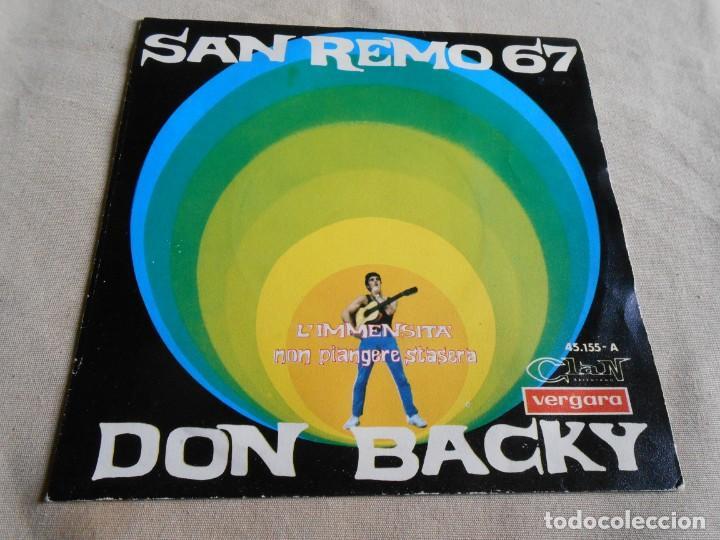 DON BACKY - SAN REMO 67 -, SG, L´IMMENSITA´ + 1, AÑO 1967 (Música - Discos - Singles Vinilo - Canción Francesa e Italiana)