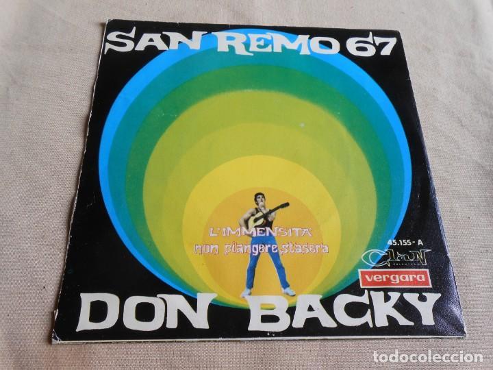 Discos de vinilo: DON BACKY - SAN REMO 67 -, SG, L´IMMENSITA´ + 1, AÑO 1967 - Foto 2 - 156475854