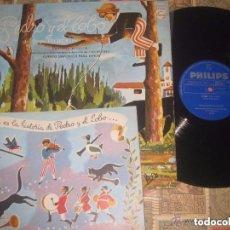 Discos de vinilo: PEDRO Y EL LOBO.- ENRIQUE BERGIER-(PHILIPS -1964) +LIBRO OG ESPAÑA COMPLETO. Lote 156510926