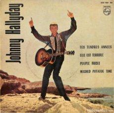 Discos de vinil: EP JOHNNY HALLYDAY TES TENDRES ANNEES + 3 EP 1963. Lote 156516098