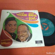 Discos de vinilo: JACKIE WILSON -COUNT BASIE CREADORES DEL SOUL / CHAIN GANG / SINGLE 45 RPM / CORAL 1967 SPAIN . Lote 156561682