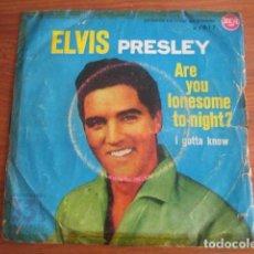 Discos de vinilo: ELVIS PRESLEY - ARE YOU LONESOME...***** RARO SINGLE ESPAÑOL 1960 33 RPM MIRAR CONDICIÓN. Lote 156565274