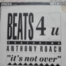 Discos de vinilo: BEATS 4 U FEATURING ANTHONY ROACH ITS NOT OVER. Lote 156612702