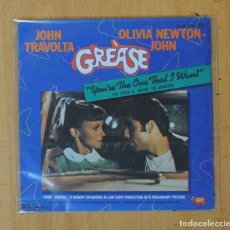 Discos de vinilo: JOHN TRAVOLTA & OLIVIA NEWTON JOHN - YOU´RE THE ONE THAT I WANT / ALONE AT A DRIVE IN MOVIE - SINGLE. Lote 156613861